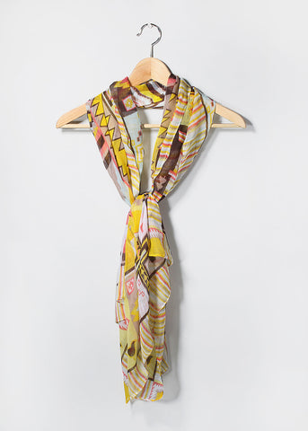 Lightweight Tribal Print Scarf- Yellow