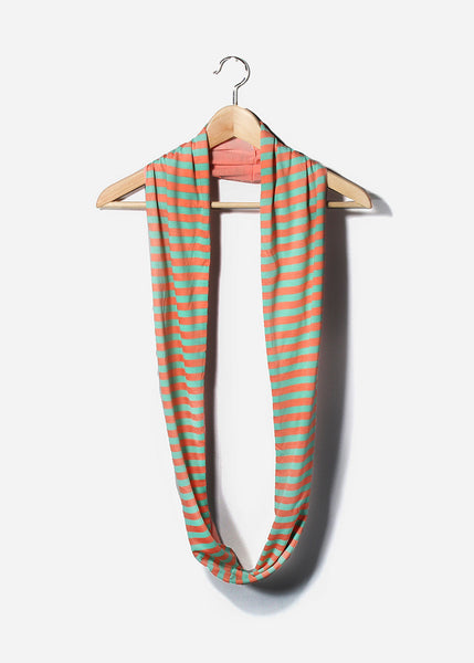 Soft Striped Jersey Scarf- Mint/Coral