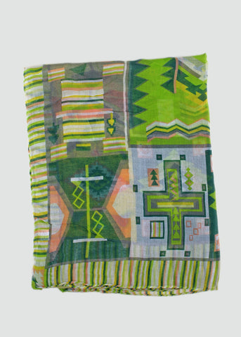 Lightweight Tribal Print Scarf- Lime
