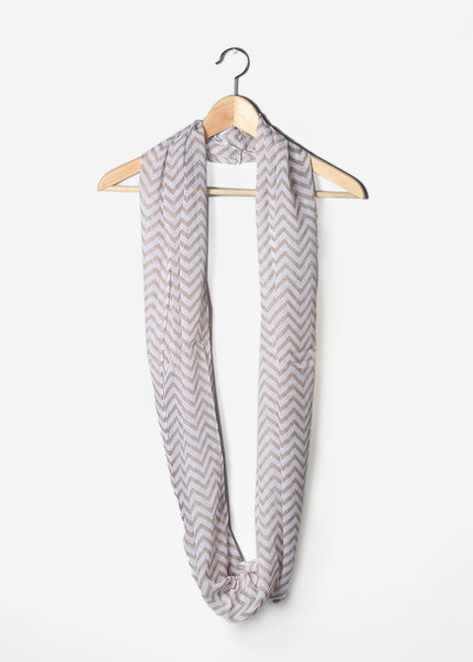 Long Lightweight Chevron Scarf- Taupe/White