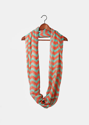 Chevron Infinity Scarf- Mint/Coral