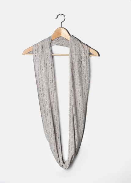 Distressed Jersey Infinity Scarf- Grey