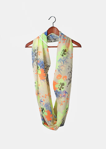 Multi-Color Floral Print Scarf- Orange