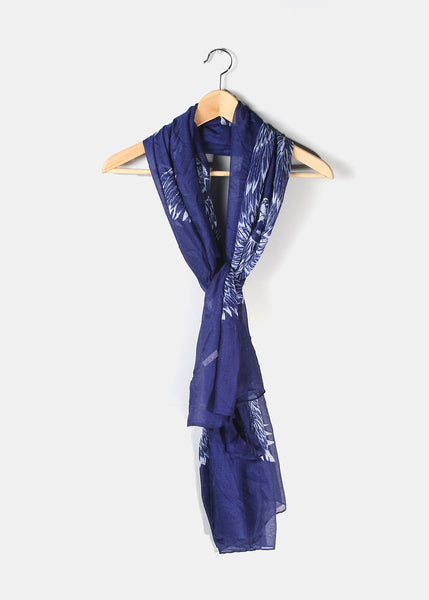 Lightweight Feathers Scarf- Navy