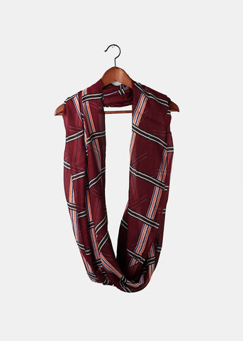 Lightweight Striped Grid Scarf