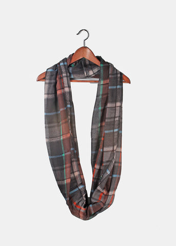 Lightweight Plaid Infinity Scarf- Charcoal