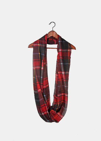 Lightweight Plaid Infinity Scarf- Burgundy