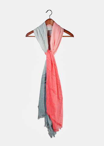 Lightweight Two-Tone Scarf- Grey/Pink