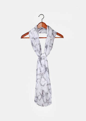 Lightweight Starfish Print Scarf- Grey