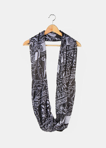Tribal Pattern Infinity Scarf- Black