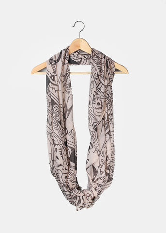 Tribal Pattern Infinity Scarf- Black/Beige