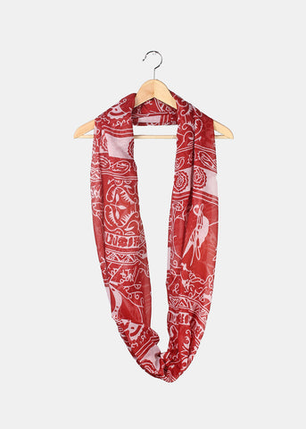 Tribal Pattern Infinity Scarf- Burgundy