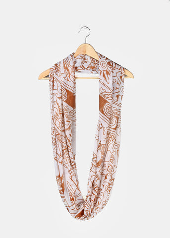 Tribal Pattern Infinity Scarf- Brown/White