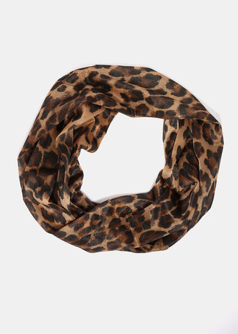 Sheer Leopard Print Infinity Scarf- Camel