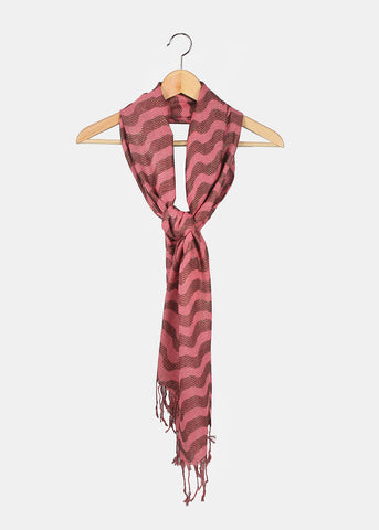 Wavy Shimmer Scarf- Pink/Brown