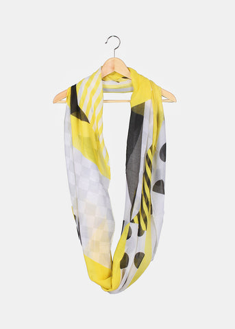 Polka Dots & Stripes Scarf- Yellow