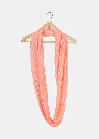 Distressed Jersey Infinity Scarf- Neon Coral