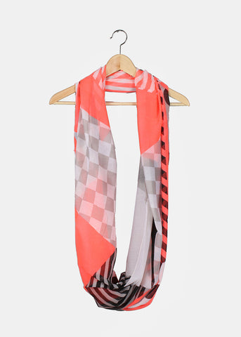 Polka Dots & Stripes Scarf- Pink