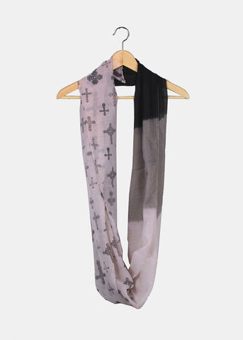 Lightweight Tri-Color Cross Scarf- Black