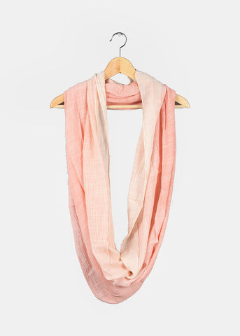 Lightweight Pinstripe Infinity Scarf- Coral