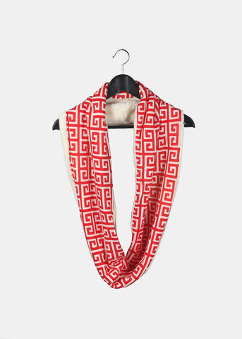 Soft Double-Sided Infinity Scarf- Red