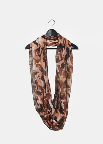 Lightweight Camo Infinity Scarf- Brown