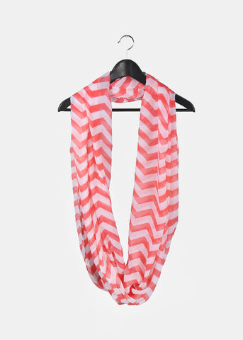 Chevron Infinity Scarf- Coral