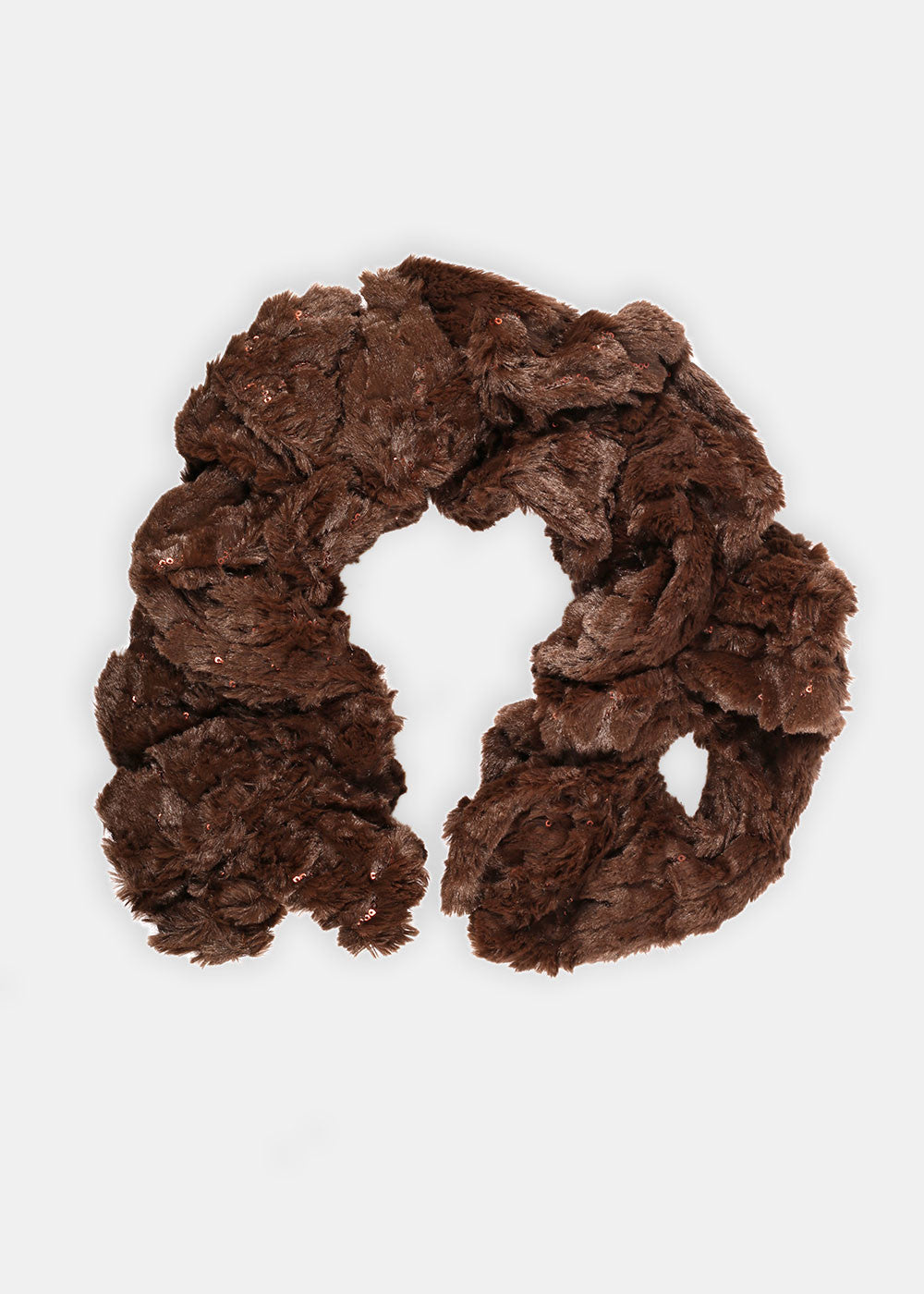 Faux Fur Stretch Scarf- Brown