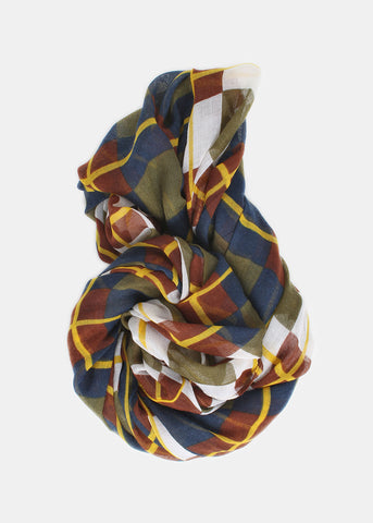 Lightweight Checkered Plaid Infinity Scarf- Olive/White