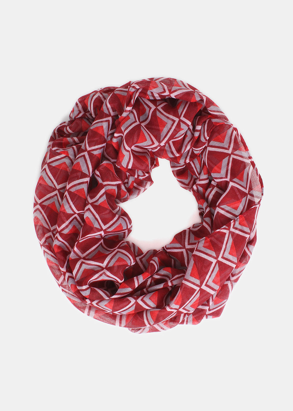 Lightweight Triangle Infinity Scarf- Red