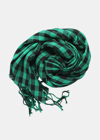 Plaid Fringe Scarf- Black/Green