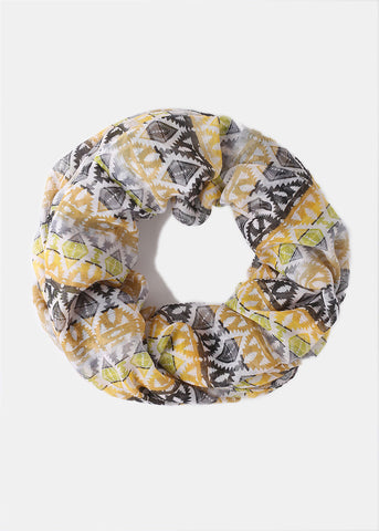Lightweight Tribal Infinity Scarf- Yellow