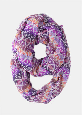Lightweight Tribal Infinity Scarf- Purple