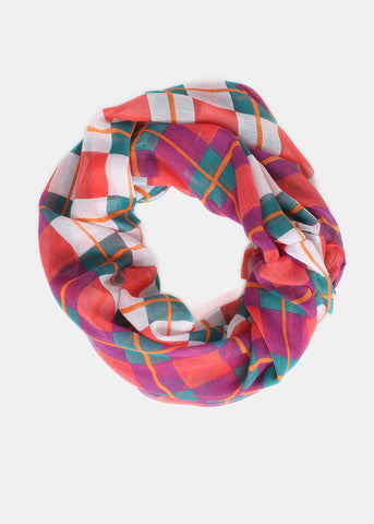 Lightweight Checkered Plaid Infinity Scarf- Red/White