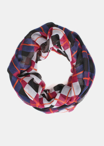 Lightweight Checkered Plaid Infinity Scarf- Black/White