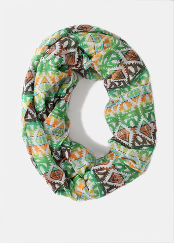 Lightweight Tribal Infinity Scarf- Green