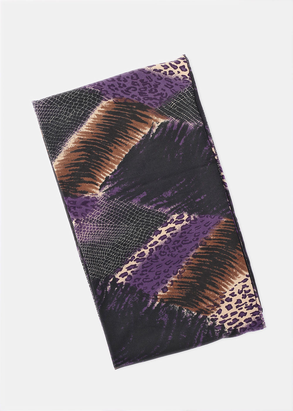 Silky Animal Print Infinity Scarf- Purple