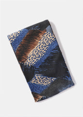 Silky Animal Print Infinity Scarf- Blue