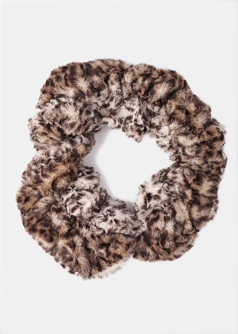 Faux Fur Leopard Print Stretch Scarf