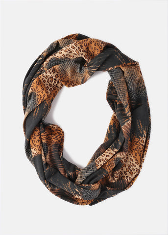 Silky Animal Print Infinity Scarf- Brown