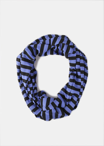 Super Soft Striped Infinity Scarf- Purple/Black