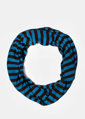 Super Soft Striped Infinity Scarf- Blue/Brown