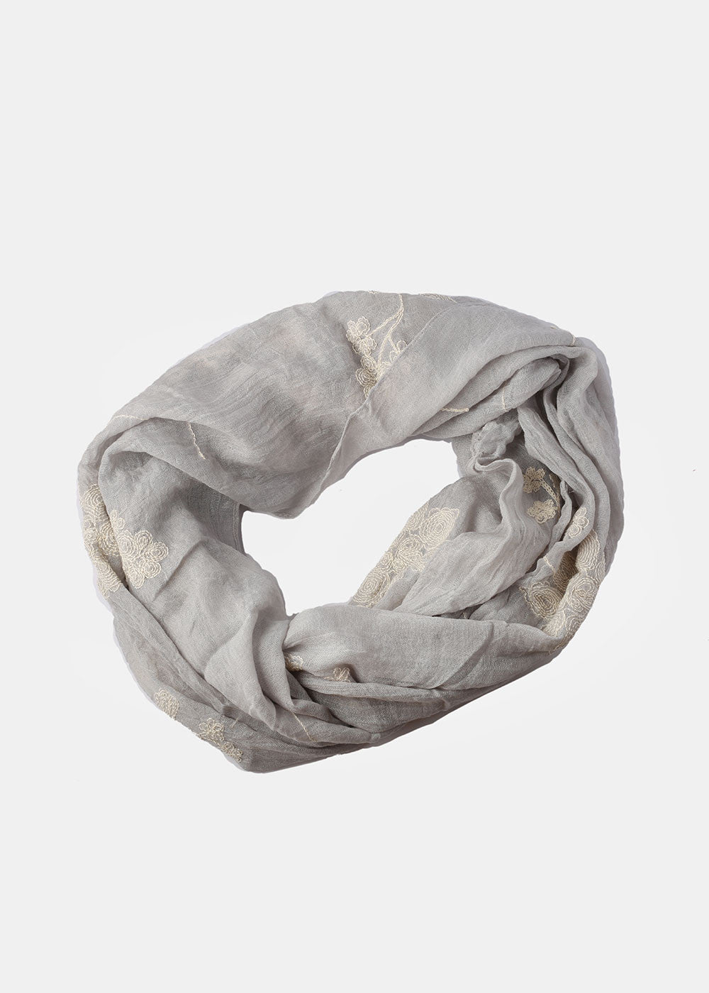 Embroidered Flower Infinity Scarf- Grey