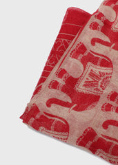 Lightweight Elephant Print Scarf- Red