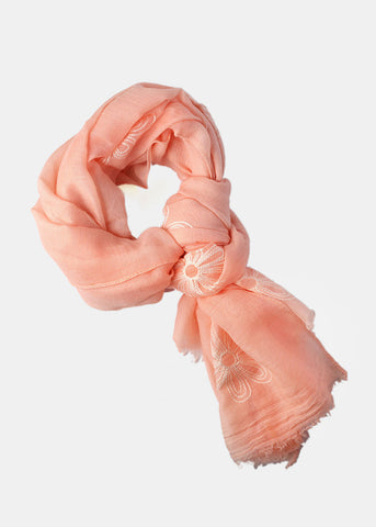 Lightweight Stitched Flower Scarf- Peach