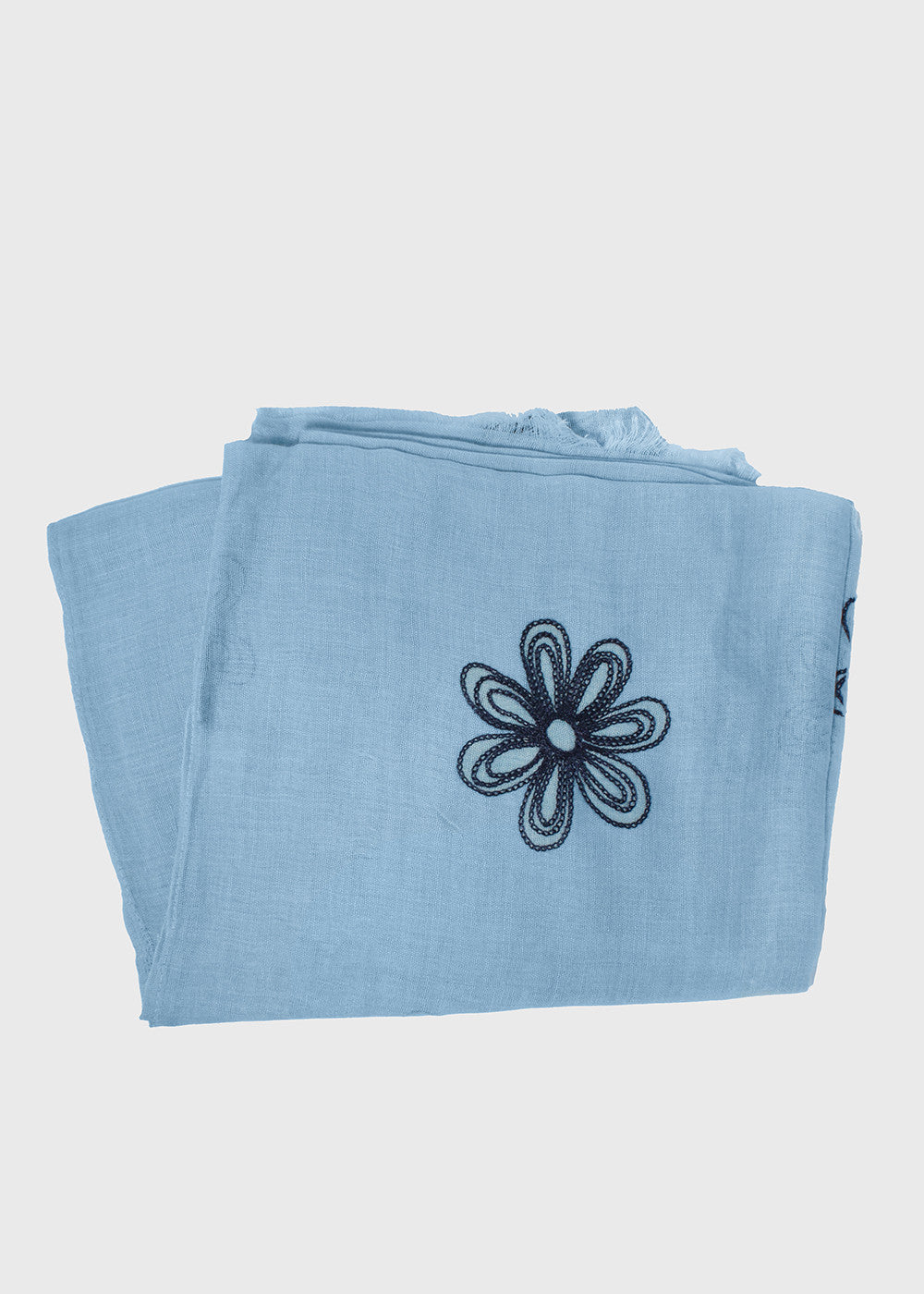 Lightweight Stitched Flower Scarf- Blue