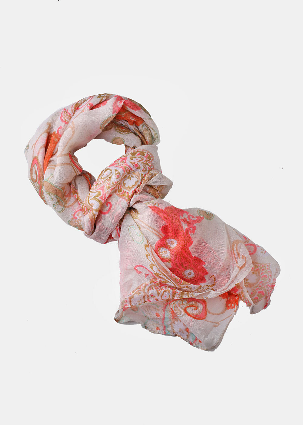 Paisley & Flower Print Scarf- Orange