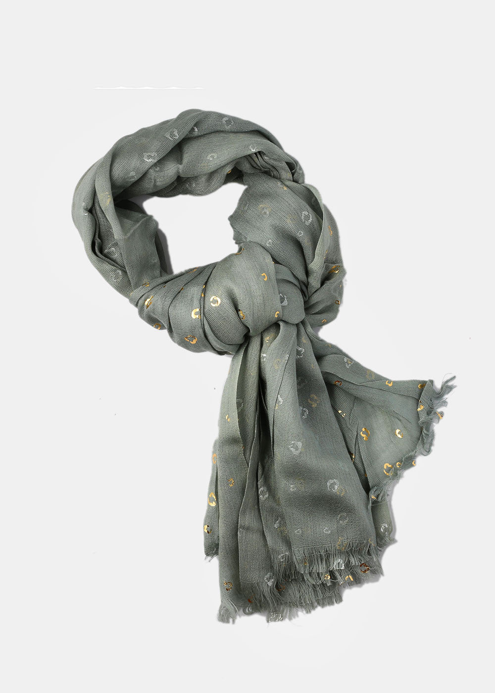 Gold Leopard Print Scarf- Green