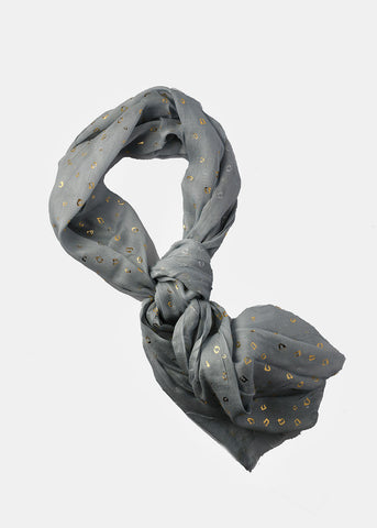Gold Leopard Print Scarf- Light Grey