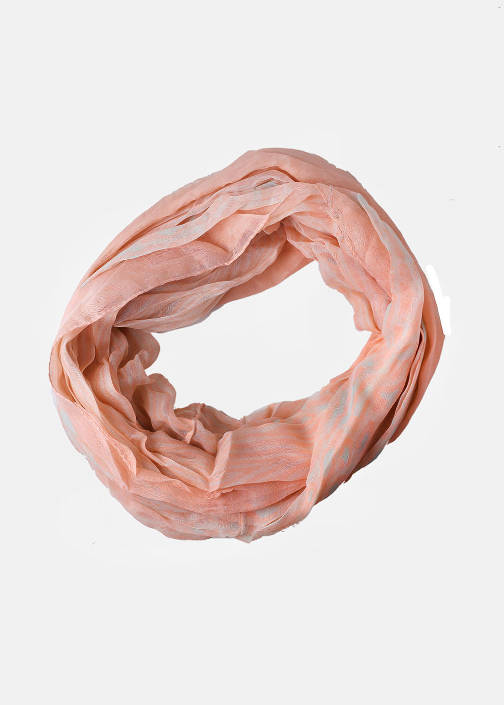 XX Animal Print Infinity Scarf- Peach